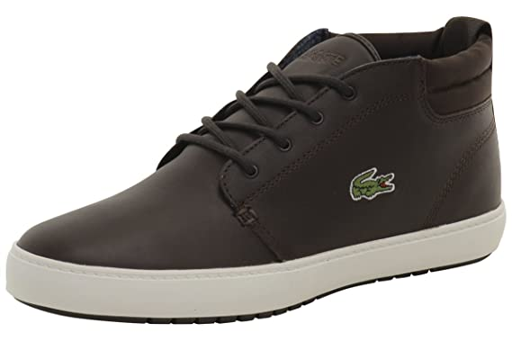 a58684aee Lacoste Ampthill Terra 316 1 Spm Dark Brown Mens Leather Sneakers Shoes 10.5