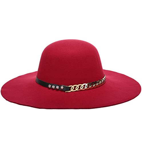 Moda Señoras Otoño E Invierno Todo-fósforo Elegante Ocasional Bóveda Borde Grande Sombrero De Lana Sombrero