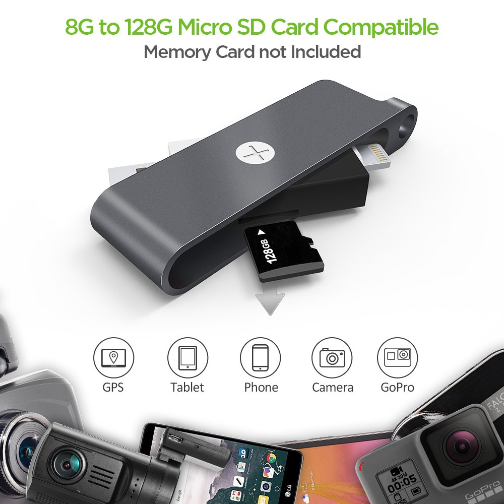 IPhone Memory Card Reader, Omars Super Speed USB 3.1 Portable Card Reader OTG Adapter With Lightning Connector For Micro SD Card/TF Card For iPhone iPad New MacBook(SD card not included)