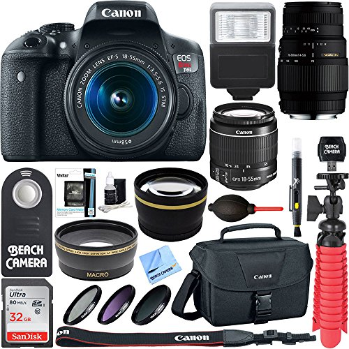 Canon EOS Rebel T6i Digital SLR Camera Wifi + EF-S 18-55mm IS & Sigma 70-300mm Lens Kit + Accessory Bundle 64GB SDXC Memory + DSLR Photo Bag + Wide Angle (Flash Memory Kit)