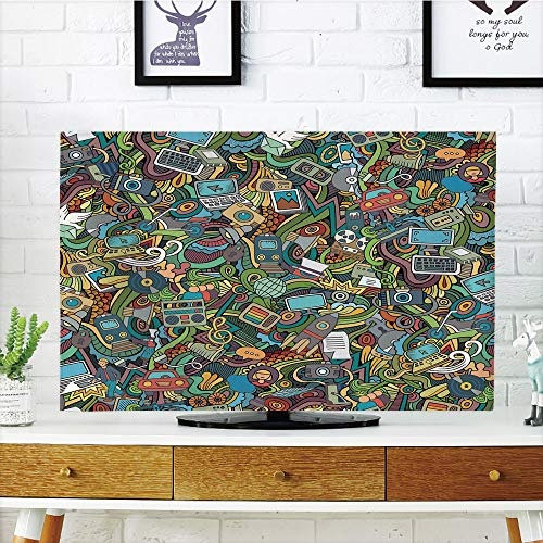 LCD TV dust Cover Customizable,Doodle,A Variety of Social Media Devices Drawn Abstract Manner Computer Photos Smartphone,Multicolor,Graph Customization Design Compatible 37'' TV by iPrint (Image #4)