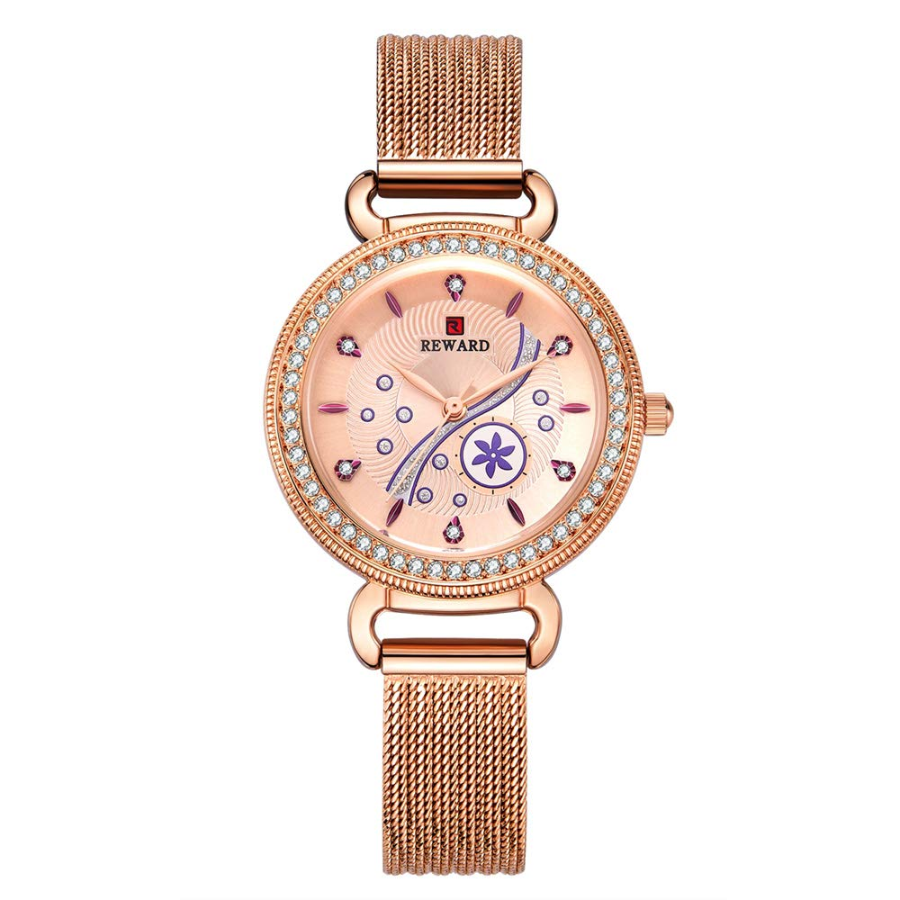 Women's Watch, Waterproof Watch Girls Simple Watch, Hollow Stainless Steel Band Watch with Rhinestone,Rosegold