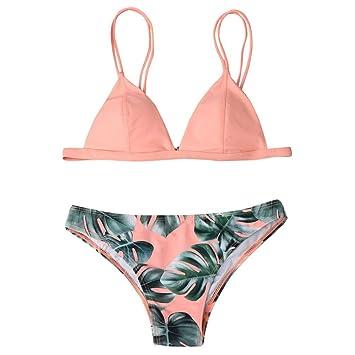 02875bc9de8d LILICAT® Conjunto de Bikini para Mujer, Parte de Arriba Bikini Push Up  Básico + Tanga Bikini Playa de Hojas de Impresión Mujer, 2 PCS Traje de  Baño ...