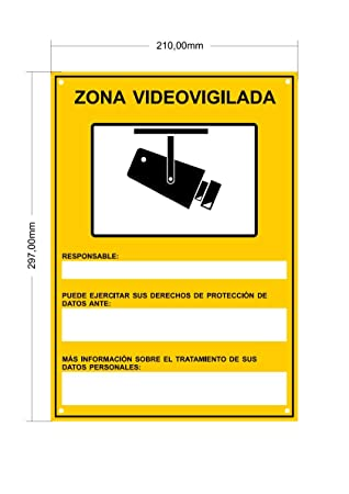 tualarmasincuotas.es Cartel VIDEOVIGILANCIA Interior/Exterior Premium y Ultra-Resistente metálico, ULTIMO Modelo HOMOLOGADO, 30x21 cm (A4)