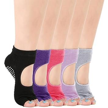 calcetines antideslizantes sin dedos para mujer, de algodón, transpirabilidad Ideal para yoga, pilates, danza y fitness (C): Amazon.es: Deportes y aire ...