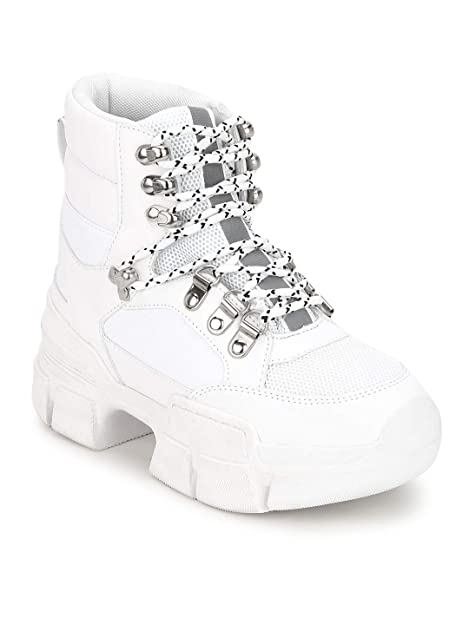 MUNCH5 White PU Sneakers