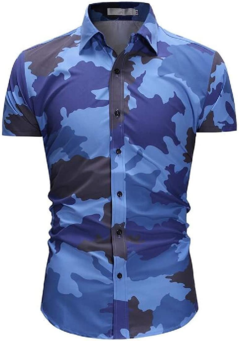 Domple Mens Lapel Short Sleeve Camouflage Relaxed Fit Casual Button Up Dress Shirt