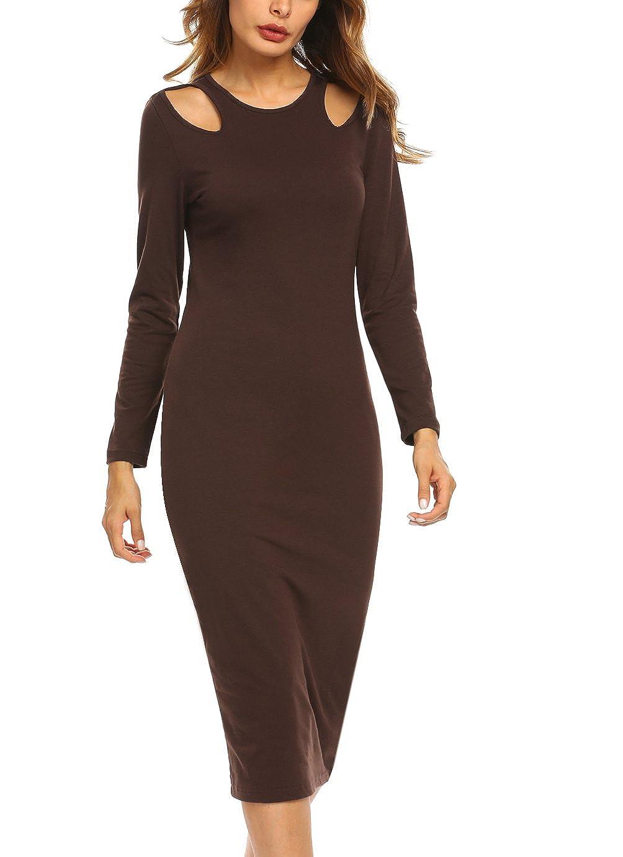 BEAUTYTALK Women's Round Neck Casual Long Sleeve Cold Shoulder Slim Bodycon Pencil Midi Dress