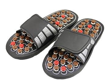 Pantuflas de reflexología, sandalias de masaje con botones de acupresión, favorecen la circulación de la sangre, chanclas que mejoran el metabolismo: ...