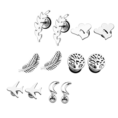 Amazon Com Silver 6 Pairs Pack Earring Studs Feather Moon Tree Of
