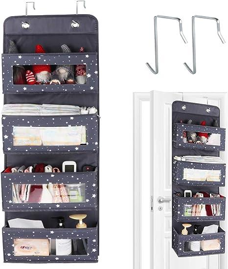 Grau FWKTG H/ängeorganizer 4 Gro/ßen Taschen Mit Fenster Multifunktionale H/ängeaufbewahrung Faltbar for T/ür Bad Kinderzimmer Wohnzimmer Schlafzimmer