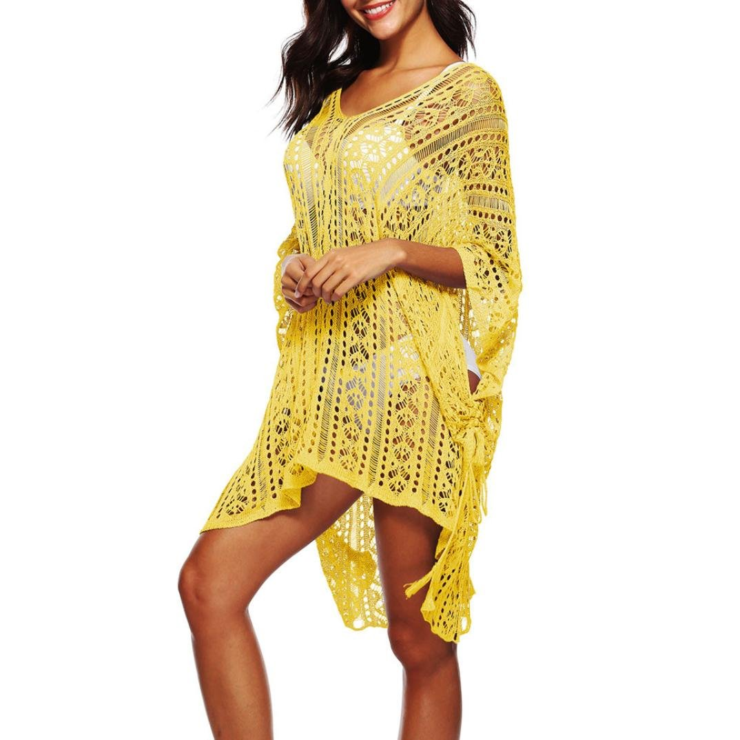 320f45018f1b7 2018 Newest Summer Beach Sunscreen Smock Dress Womens Bathing Cover Up  Bikini Swimsuit Swimwear Crochet Pullover ...