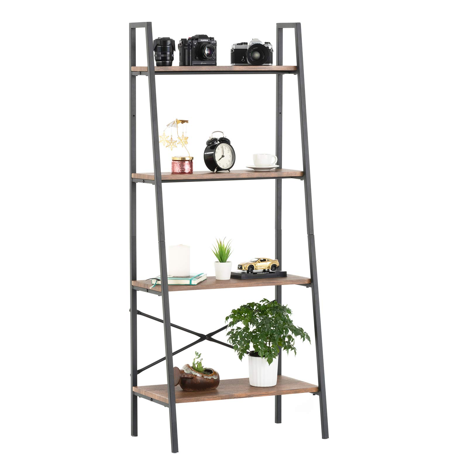 mecor 4-Tier Industrial Ladder Shelf, Bookshelf,Metal Frame Storage Rack Shelves,Modern Design Furniture for Home Office,Rustic Brown by mecor