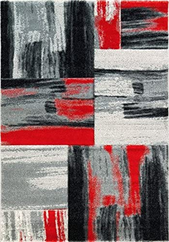 Ladole Rugs Moda Collection Soft Elegant Copper Abstract Made in Europe Area Rug Carpet in Red Black Grey, 8×10 7 6 x 10 2 , 240cm x 320cm