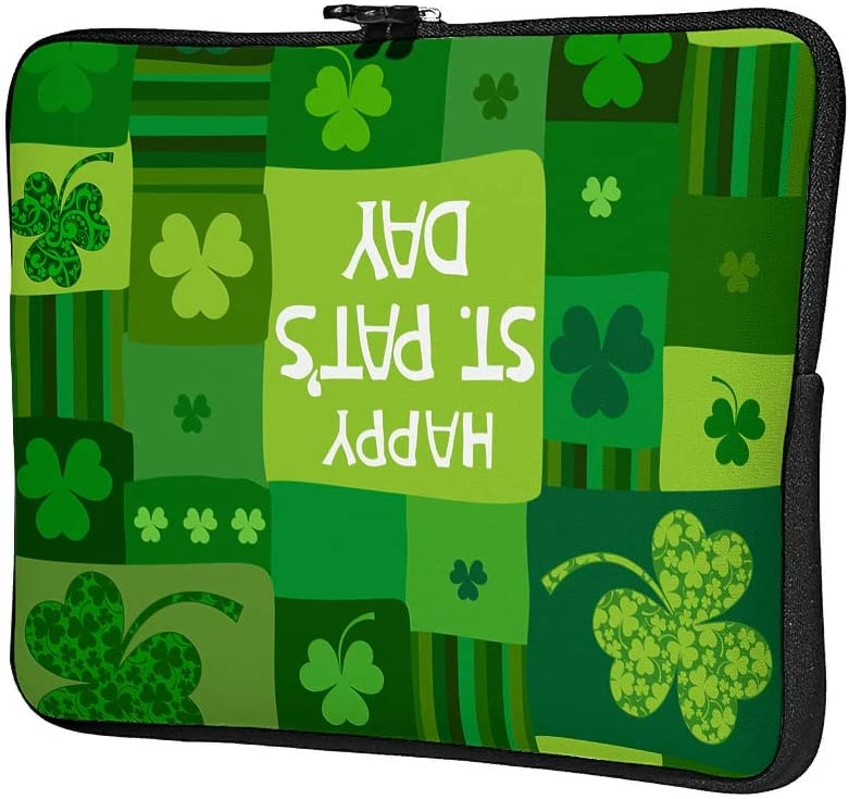 Nchjjo St Patricks Day Laptop Bag Durable Water Resistant Big Capacity Zipper Multi-Functional Stationery 10-17 Inch for Office White 29x22x1.5cm