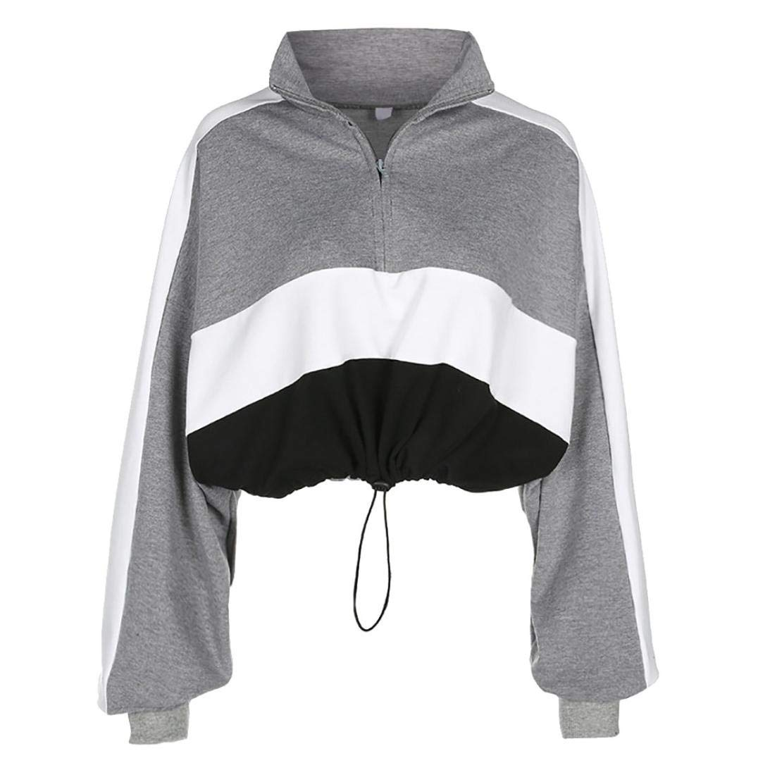 Spbamboo Women Long Sleeve Pullover Sweatshirt Blouse Zipper Crop Tops Shirt by Spbamboo (Image #2)