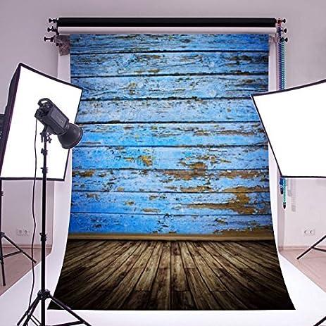 Mohoo Silk Vintage Blue Wood Floor Photography Backdrops Photo Props Studio  Background 1.5x2.1m