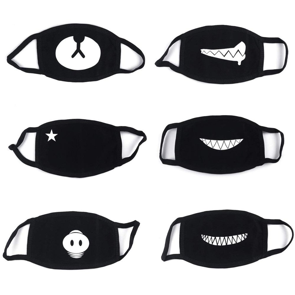 6 Pack Mouth Mask, Cotton Soft Half Face Mask, Biker Mask, Dust Protection Mask, Fashion Kawaii Cool Bear Panda Mask for Men and Women PROACC 6 Pack Mouth Mask