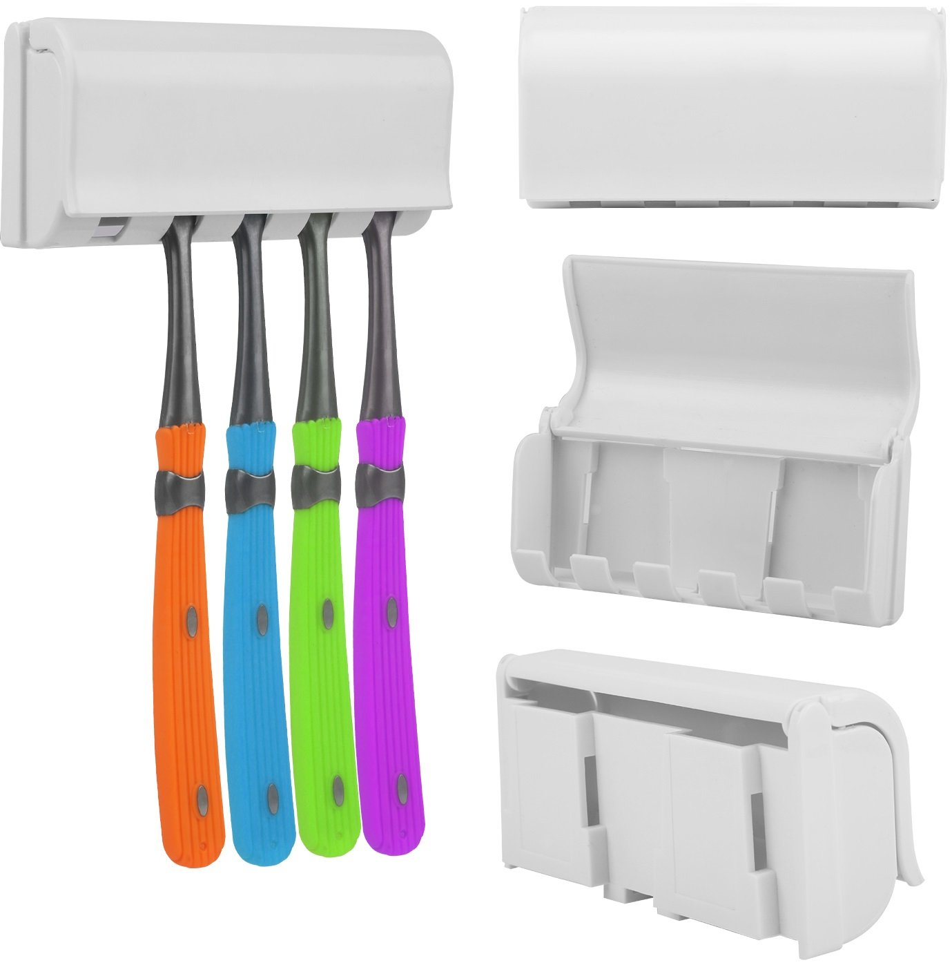 Holds 5 Brushes For Family Shower Bathroom Sink iMounTEK Hands Free Automatic Toothpaste Dispenser /& Toothbrush Holder Set W// Sticky Suction Pad Wall Mount Easy Installation One Touch Squeezer