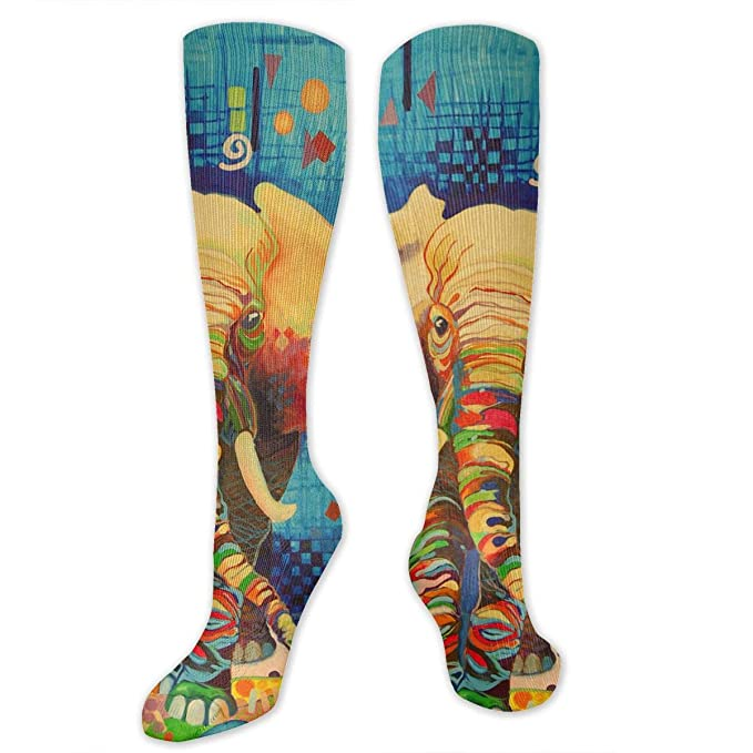 a42b175566c2 Amazon.com  Colors Elephants High Socks Long Socks Boot Stocking  Compression Sports Socks For Women Men  Clothing
