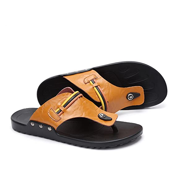 338000486a1262 Ruiyue Thong Flip Flops ShoesxFF0C Summer Outdoor and Home Casual PU  Leather Beach Slippers Non-Slip Soft Flat Sandals for Men (Color   Orange