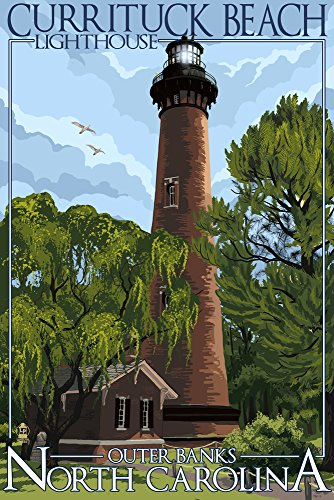 - Outer Banks, North Carolina - Currituck Beach Lighthouse Day Scene (9x12 Art Print, Wall Decor Travel Poster)