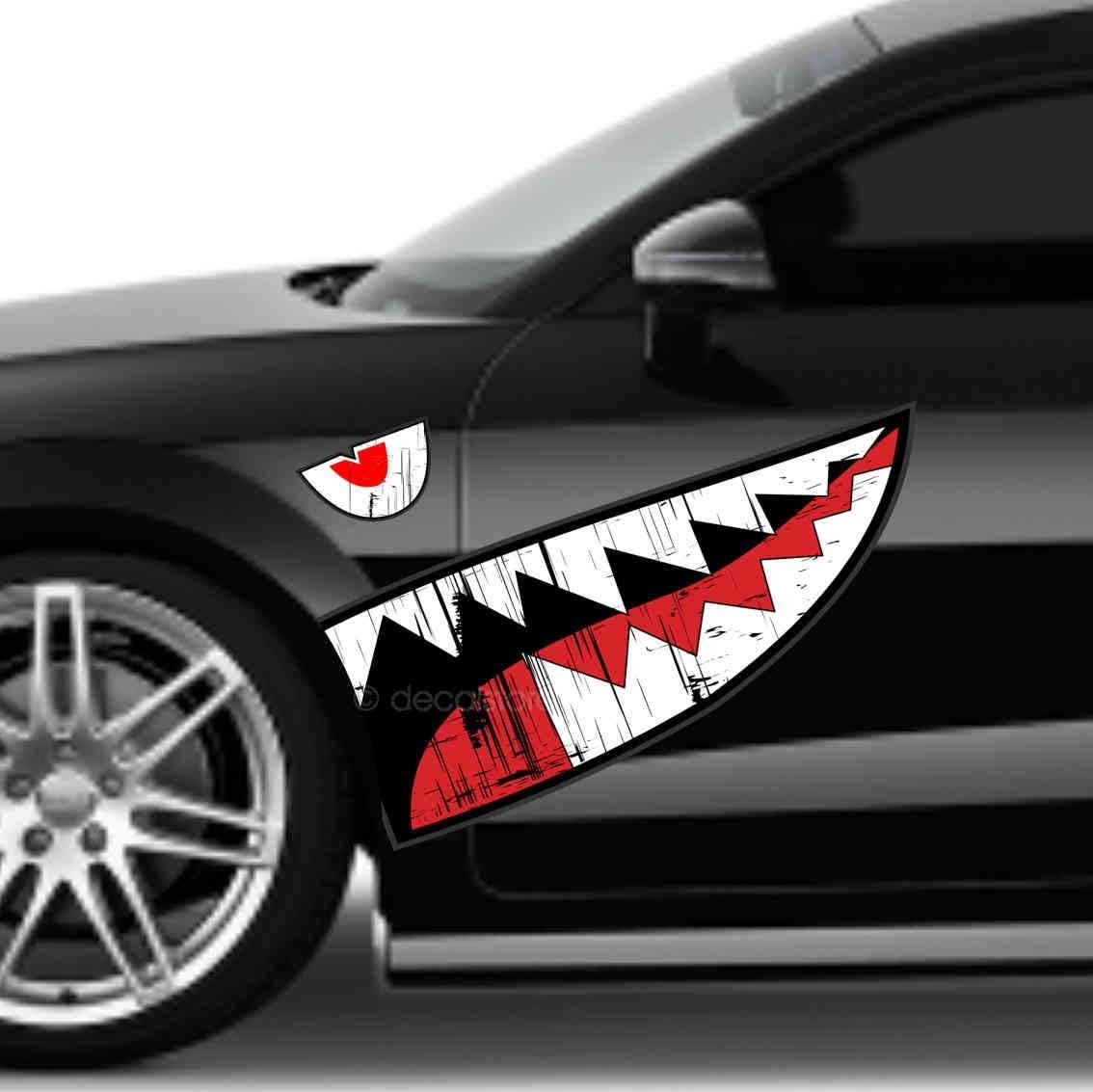 Decalstore Auto Aufkleber Haifisch Maul Shark Face Bomber Ww2 Zähne Folierung Auto