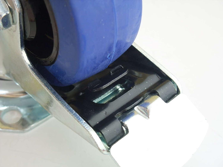 16 St/ück 80mm Blue Wheels Lenkrollen Transportrollen 140kg INDUSTRIEQALIT/ÄT 16 x Lenk Rad