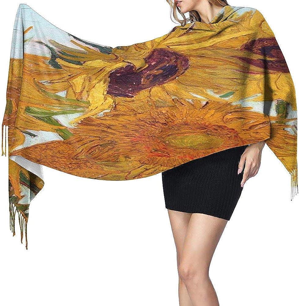 Detalle de los girasoles de Van Gogh Bufanda de cachemira Chal largo liviano Bufandas de chal suaves y c/álidas Bufanda elegante para mujer Oto/ño Invierno Interior al aire libre