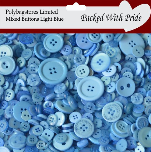 100g **LIGHT BLUE** SEWING BUTTONS / ASSORTED SIZES / ARTS CRAFTS / SCRAPBOOK / CARD MAKING POLYBAGSTORES