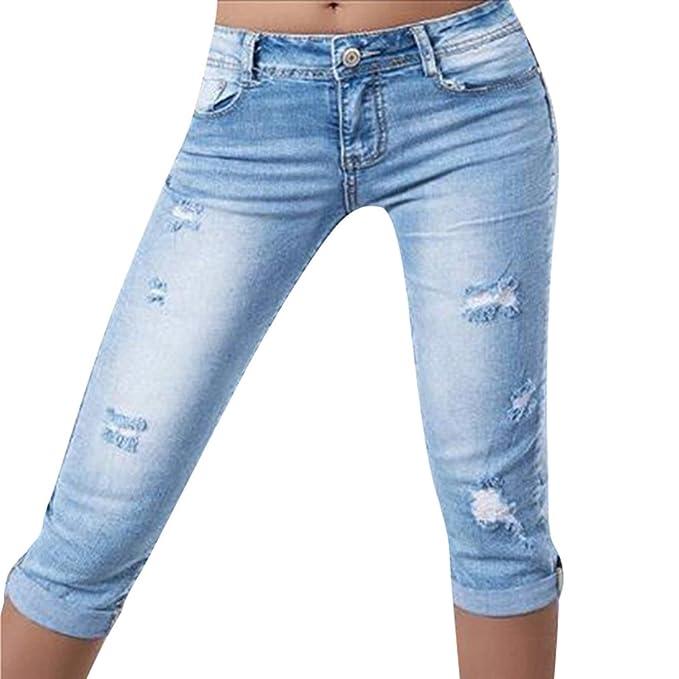 Pantalones Casuales Verano Mujeres Señoras Color Sólido ...