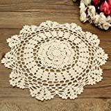 king do way Vintage Embroidered Round Cotton Lace Placemat Place Mat Doilies Hand Crocheted Flower Coasters Cup Glass Mat 27cm 10'' (Beige)