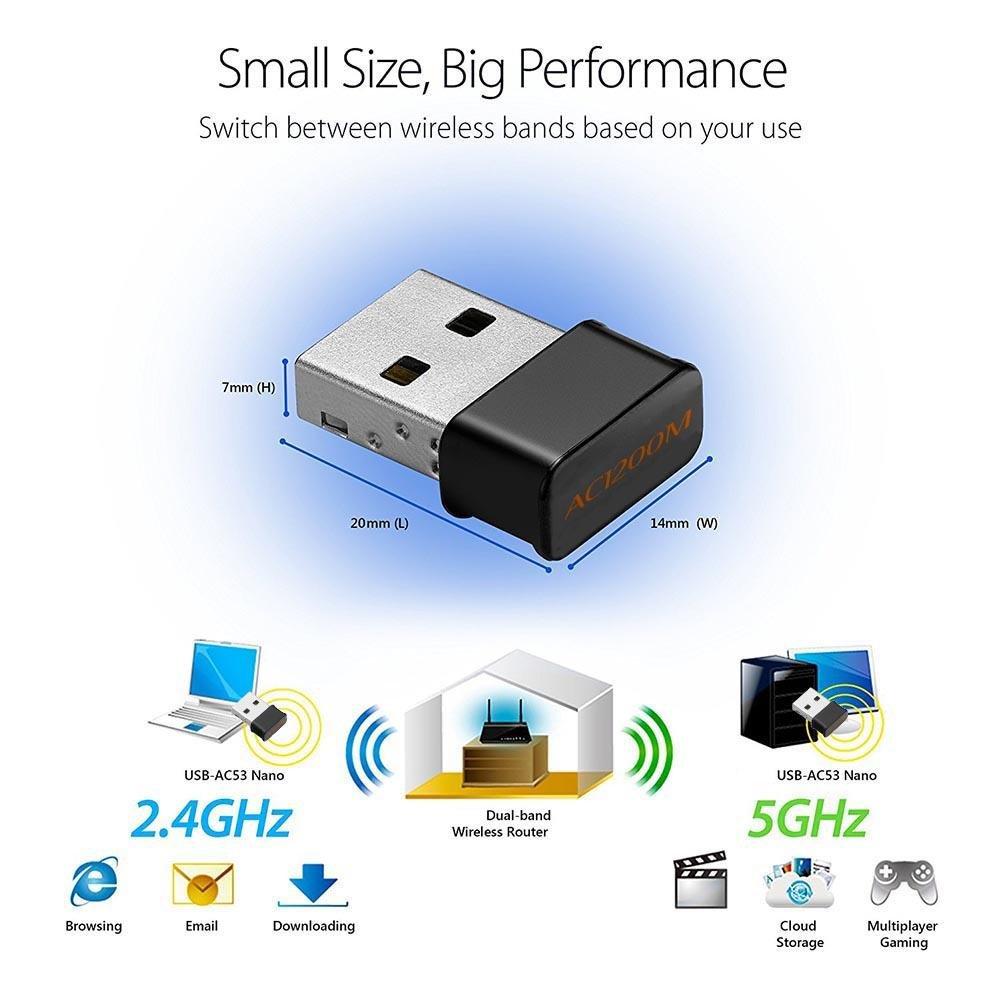 YouN double bande sans fil 2,4/G 5/G 1200/m 802.11/ac Wifi Nano Dongle adaptateur r/éseau