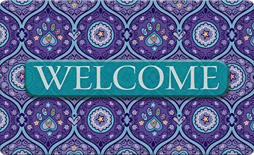 Toland Home Garden Purple Paws Welcome 18 x 30 Inch Decorative Heart Floor Mat Puppy Dog Pet Doormat