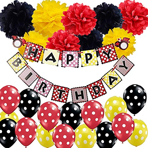 Mickey Mouse Colors Birthday Decorations Kit- HAPPY BIRTHDAY Banner Tissue Paper Pom Pom with Polka Dot Balloons Set for Red Black Yellow Party Decor Ladybug Party Decor Minnie Mouse Party Supplies -