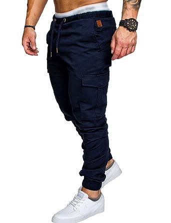 dcdffcc3d1d SOMTHRON Homme Ceinture élastique à long coton Jogging pantalons de  survêtement Plus la taille Mode Sport Cargo Pantalons Shorts avec poches  Joggers ...