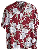 RJC Mens White Orchid Rayon Shirt Burgundy S