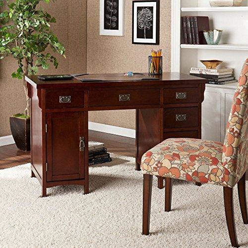 Southern Enterprises Miguel Computer Desk – Dark Cherry/Aged Bronze