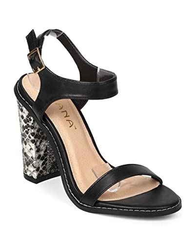 bdddf5953b2c Liliana Women Leatherette Open Toe Snake Block Heel City Sandal EJ67 - Black  (Size