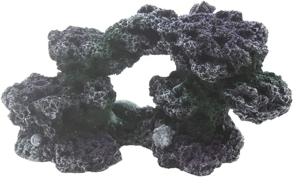 Aquarium Imitation Coral Reef Rock Base Cave Decor Medium ( 7.87 x 3.9 x 3.9inch)