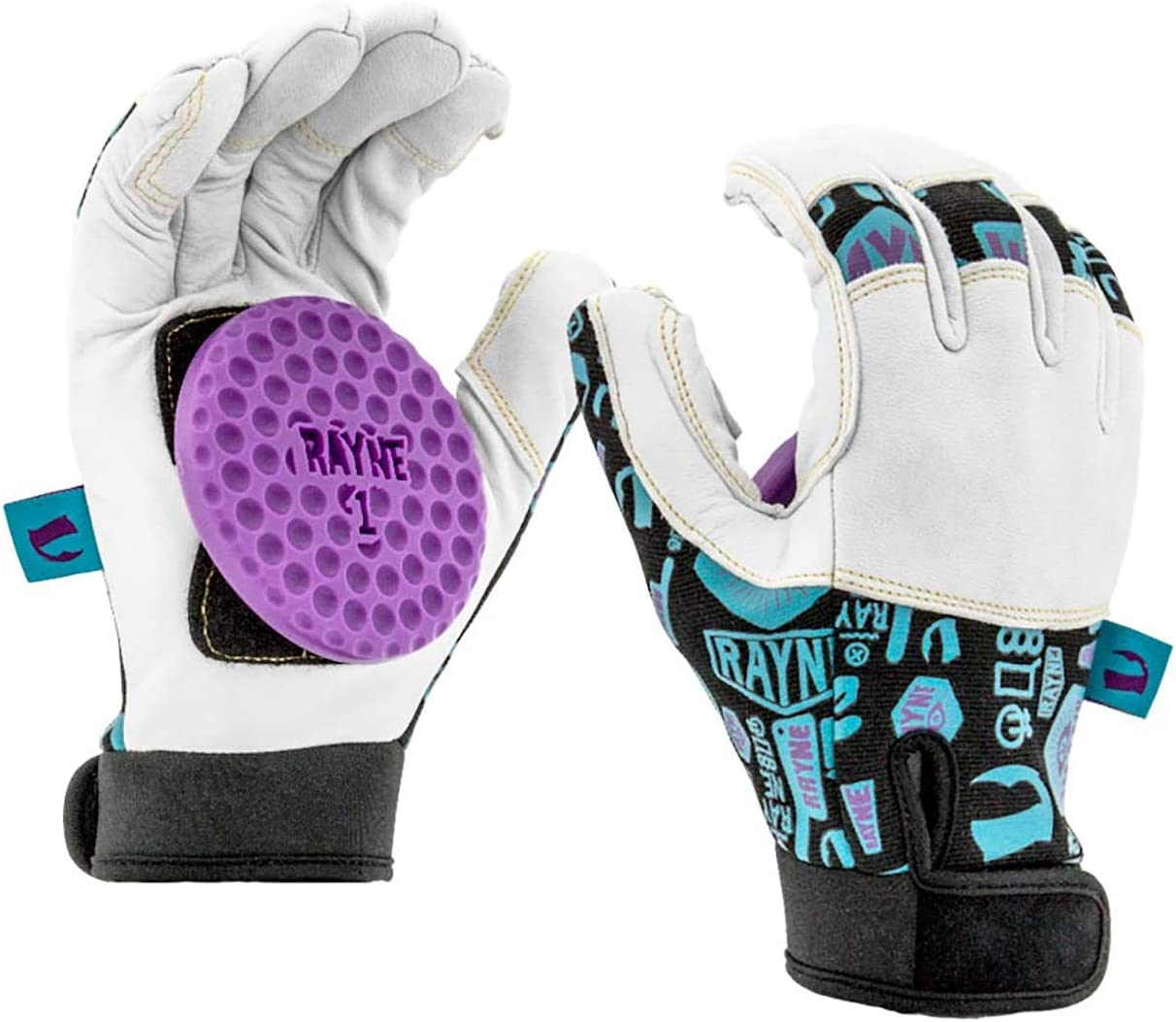 Longboard Skating Slide Gloves with Perforated Leather Fingers and Adjustable Neoprene Wrist Cuff Delrin Dish-Shaped Puck Rayne Idle Hands Leather Slide Gloves