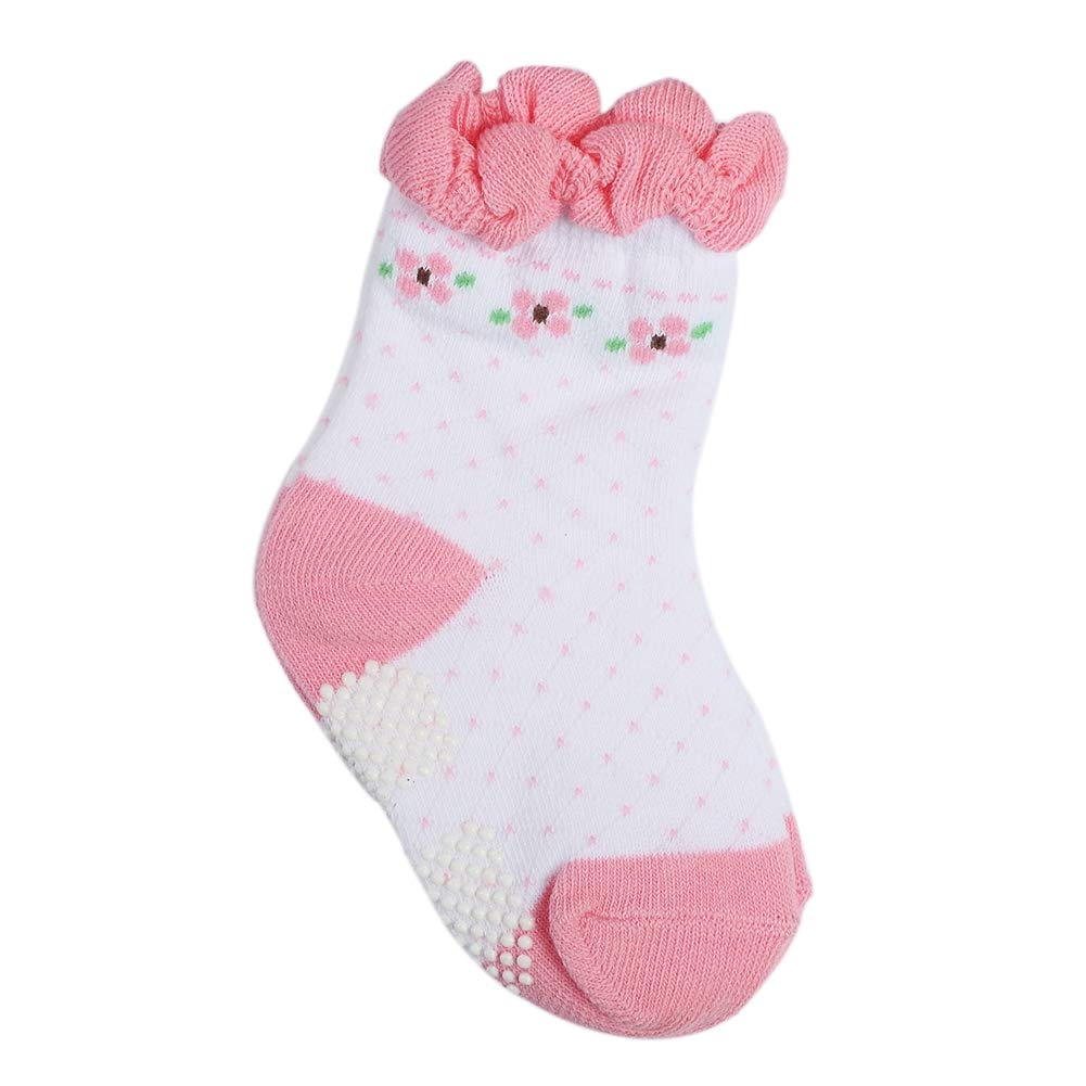 Babasee 3 Pairs Non Skid Anti Slip Crew Socks With Grips For Baby and Girl Toddlers Boys