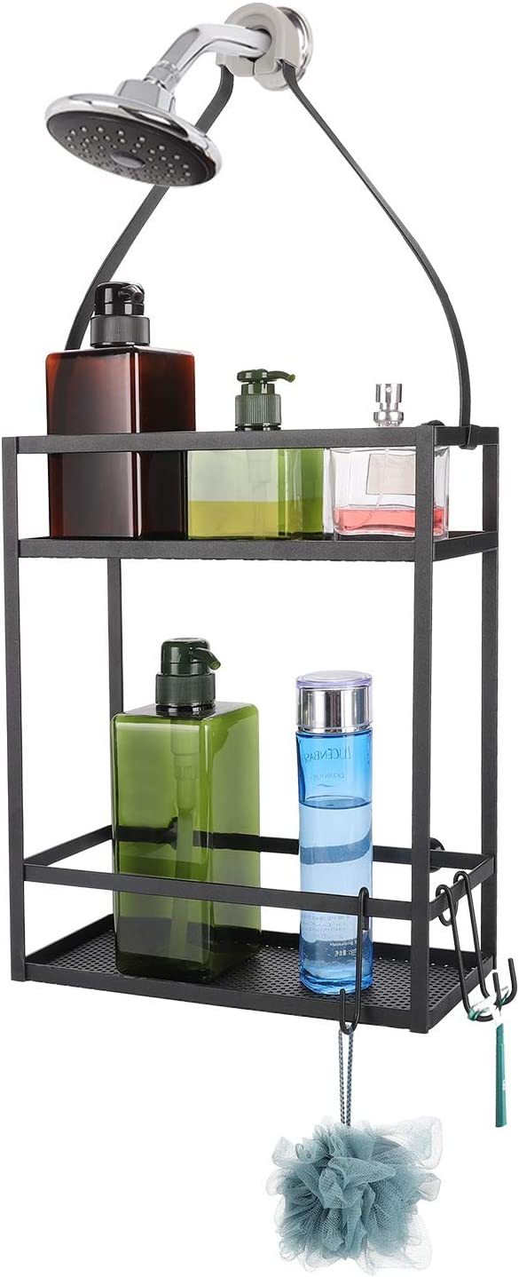 Minggoo Shower Caddy Organizer ,Mounting Over Shower Head Or Door,Extra Wide Space for Shampoo, Conditioner, and Soap with Hooks for Razorsand More,10.5
