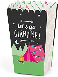 product image for Let's Go Glamping - Camp Glamp Party or Birthday Party Favor Popcorn Treat Boxes - Set of 12