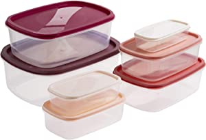 Cook with Color Rectangular Food Storage Containers with Lids, Easy-Find Nesting Plastic Containers, 14 Piece Set (Pink Ombre)