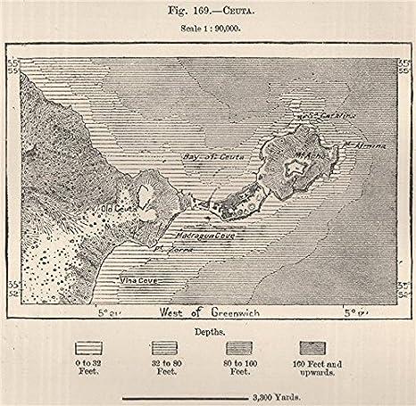 Ceuta. España. Marruecos – 1885 – Old Antiguo Mapa Vintage – Mapas de Impreso de España: Amazon.es: Hogar