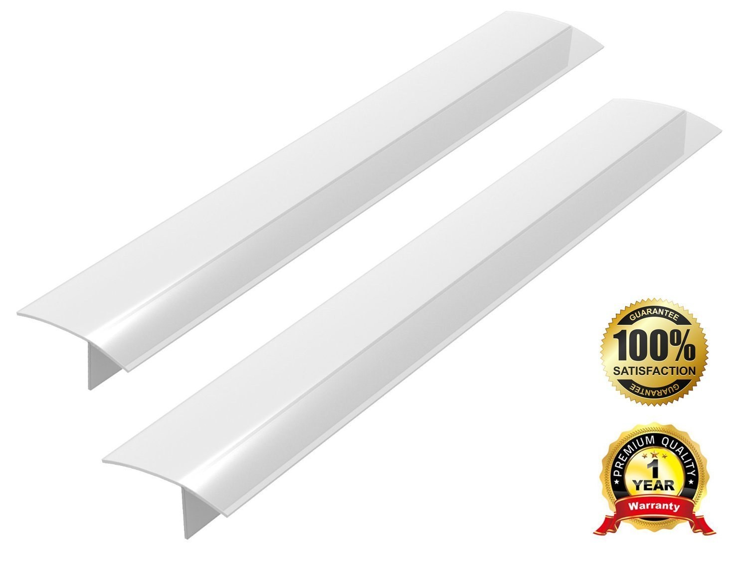 Stove Counter Gap Cover - Flexible Silicone Kitchen Gap Cooktop Gap Covers, Food Grade, Non-toxic, Spill Guard for Stovetop, Counter, Oven, Washer, Dryer, Washing Machine, 2 Packs (Translucent White)