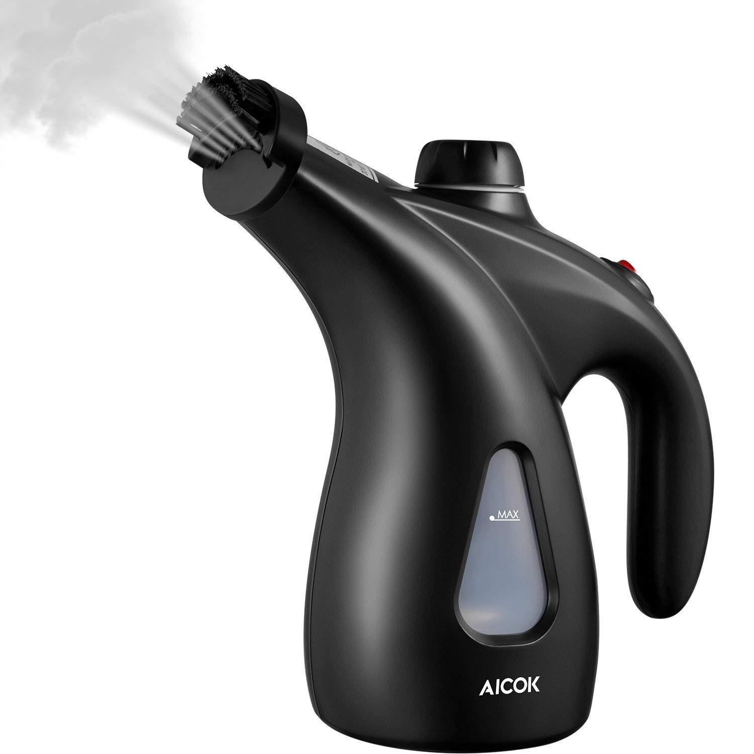 Aicok Clothes Steamer, 900W Powerful Travel Steamer,200ML High Capacity Garment Steamer Perfect for Home and Travel, Portable Handheld Fabric Steamer with Brush and Travel Pouch, Black