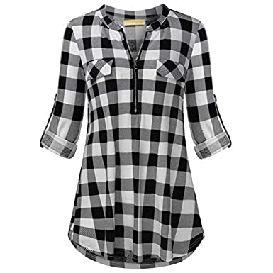 Womens V-Neck Zipper Beach Dress Shirt Ladies Long Sleeve Cover Up V Neck Tops