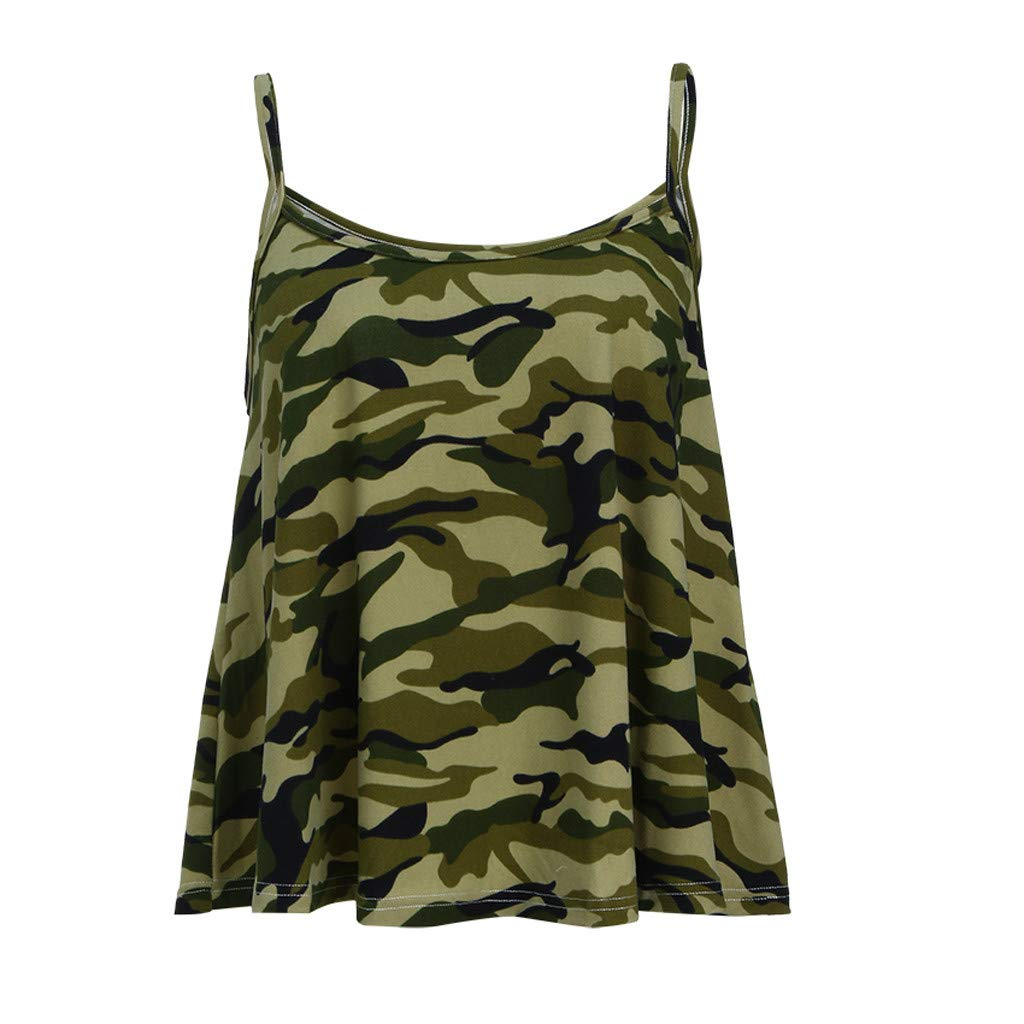 NUWFOR Fashion Womens O-Neck Vest Tank Camouflage Printed Casual Sleeveless Camis Top